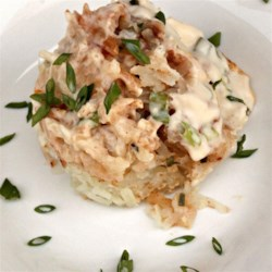 Creamy  Alfredo Potatoes Recipe - Classico(R) Fresh Four Cheese Alfredo Sauce with russet potatoes, a few spices and fresh herbs come together to create a company-worthy side dish. You can prepare this creamy side dish in advance and bake it just before serving.