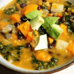 Roasted Vegetable and Kale Soup Recipe - Roasted vegetables are pureed and cooked with broth, kale, and a nice mix of Italian sausages for a hearty soup.