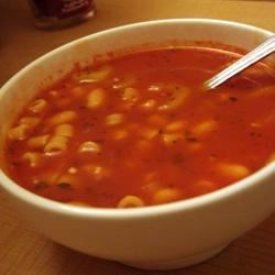 Easy Pasta Fagioli Recipe - White cannellini beans, ditalini pasta with vegetables, tomato sauce and herbs in a chicken broth.