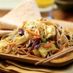 Moo Shu Vegetables Recipe - This vegetarian version of the classic Chinese stir-fry, Moo Shu, uses already-shredded vegetables to cut down on the prep time.