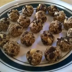 Chocolate Peanut Raisin Bites Recipe - These no-bake treats use a mixture of pureed raisins, oats, and applesauce as a base for peanuts and chocolate chips.