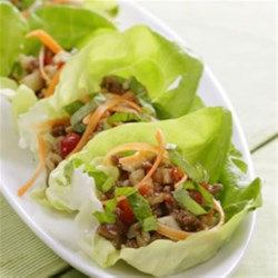 Five-Spice Turkey and Lettuce Wraps Recipe - Based on a popular Chinese dish, these fun wraps make a delicious light dinner.