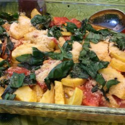 Roasted Garlic Zucchini and Tomatoes