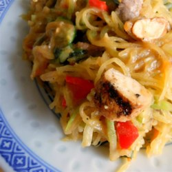 Spaghetti Squash Pad Thai Recipe - Replace rice noodles with shredded spaghetti squash in this lower carb recipe for pad thai.