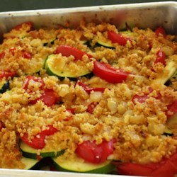 Tomato Zucchini Casserole Recipe - A simple vegetable dish that highlights the summer flavors of fresh tomatoes and zucchini. It goes great with grilled meats or poultry.