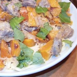 Pasta with Roasted Butternut Squash and Sage Recipe - Excellent pasta dish. Different from the norm with turkey sausage, roasted butternut squash, balsamic vinegar, and sage.