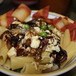 Pasta with Gorgonzola and Sweet Onion Recipe - This is an unusual but incredibly tasty pasta dish! Caramelized sweet onions, balsamic vinegar and gorgonzola, mixed with hot cooked spaghetti.