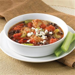 Buffalo Chicken Chili by PAM(R) Recipe and Video - Enjoy the flavor of Buffalo chicken recreated in this hearty black bean chili.