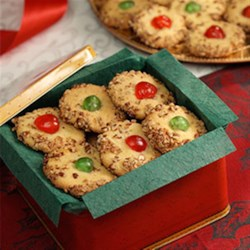 Cherry Delight by PAM(R) Recipe - A tender and elegant cookie graced with pecans and candied cherries.