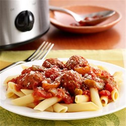 Italian Meatballs and Peppers by PAM(R) Recipe - This slow cooker recipe combines flavored tomatoes, Italian-style meatballs and pepper strips. You can just walk away until it's time to cook the pasta.