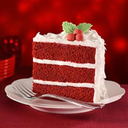 Red Velvet Cake with Cream Cheese Frosting by PAM(R) Recipe - An impressive three-layer distinctively red cake with a rich cream cheese frosting the family will love -- great for special occasions.