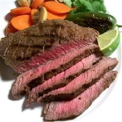 Jalapeno Steak Recipe - This grilled steak tastes sensational after marinating in a blend of jalapenos, lime juice and garlic.