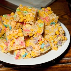 Bake Sale Marshmallow Treats Recipe - Everyone loves marshmallow and cereal treats. These bake-sale favorites use brown sugar and butter-flavored cereal and fruit-flavored cereal in addition to the traditional crisped rice cereal.