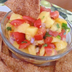 Fresh and Simple Peach Salsa with Cinnamon Sugar Chips Recipe - Spicy peach salsa is nicely paired with cinnamon and sugar tortilla chips for a Mexican-inspired snack.
