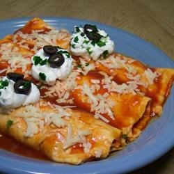 Easy Mashed Potato and Roasted Vegetable Enchiladas Recipe - This is the perfect comfort food for cold days.  To make it vegan, substitute non-dairy ingredients for dairy.  Leftover filling makes a great lunch!  If you want to make mashed potatoes from scratch, you will want at least 4 cups when you are through.