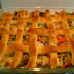 Pot pie with lattice crust