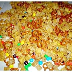 party mix w/pretzels, peanuts and m&ms.
