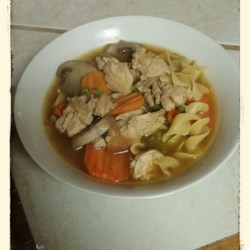 Grilled Chicken Noodle Soup Recipe - This is a quick chicken noodle soup with mushrooms, peas and carrots. Chopped chicken breast is sauteed to bring out its best flavor. Egg noodles are suggested, but use any noodle that you like.