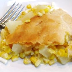 Pennsylvania Dutch Corn Pie Recipe - This is my mom's corn pie. We grew up eating this and loving it in the heart of Amish country. It is a very hearty dish, and easy to make.  Give this one a try before you decide you won't like it. Corn takes on a whole different flavor made this way. Some people add cooked chicken to the pie as well.