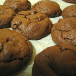 Chewy Chocolate Cookies I Recipe - These are GREAT chocolate chocolate chip cookies. Always a request at Christmas from friends and family!