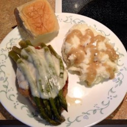 Quick Chicken with Asparagus and Provolone