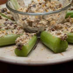 Curried Celery Recipe - This curry-powered appetizer recipe delivers a new topping for raw celery by mixing apple and raisins into cream cheese.