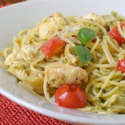 Pesto Pasta with Chicken Recipe - Easy and delicious bowtie pasta with chicken, sun-dried tomatoes and pesto sauce. Using homemade pesto will taste even better, but it adds to prep time.