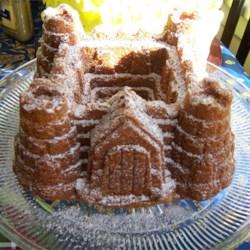 Rum Cake baked in Sandcastle Bundt Pan