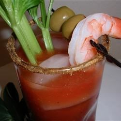 True Wisconsin Bloody Mary Recipe - This is my Wisconsin version of a classic Bloody Mary drink. On special occasions, garnish with skewered bite-size pieces of Wisconsin Cheddar, Monterey Jack, pepperoni, salami, green olives or cocktail shrimp on top.  Best when consumed before noon.