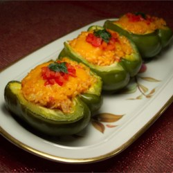 Stuffed Bell Peppers Recipe - The quintessential recipe, just like Gram used to make--except they're vegetarian, made with TVP instead of beef.