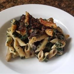 Portobello Penne Pasta Casserole Recipe - Portabello mushrooms, spinach, cheeses and penne combine to make a delicious casserole dish - perfect for family dinners or a party.