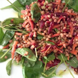 Lentils and Buckwheat Salad To Go (Gluten-Free) Recipe - This lentil and buckwheat salad with spinach, beets, and carrots is tossed in a well-seasoned dressing with hints of rose petals.