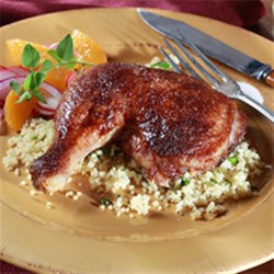 Roasted Chicken with Chipotle Cocoa Rub Recipe - A brown sugar, salt, cocoa, and chipotle chili rub brings Mexican-inspired flavor to this tender roast chicken.