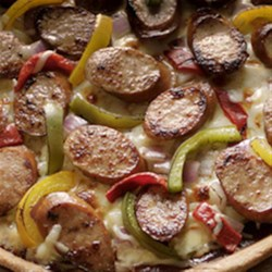 Barbecue Smoked Sausage Pizza Recipe - Put a summer spin on pizza with smoked sausage and barbecue sauce.