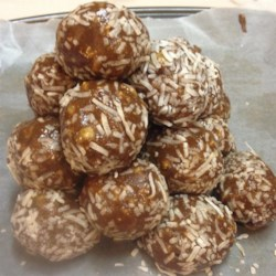 """Health Balls I Recipe - These are great cookies to make with kids since they don't have to be baked.  I'm not sure how """"healthy"""" these are, but they are a nice snack."""