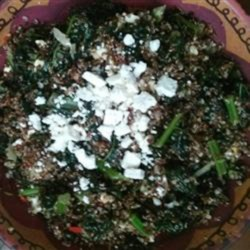 Red Quinoa and Tuscan Kale Recipe - This side dish mixes kale and quinoa withe lemon, bell pepper, sweet onion, almonds, and feta cheese for a flavor-packed menu item.