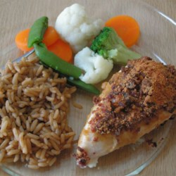 Aimee's Quick Chicken Recipe - Chicken breasts baked with Dijon mustard, teriyaki sauce, bacon bits and Parmesan cheese. That's it! Yummy!