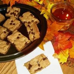 Blonde Brownies IV Recipe - Wonderful golden brownie with chocolate chips. My mom made these when I was a girl and they are still my favorite.