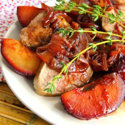Roasted Pork Tenderloin with Fresh Plum Sauce  Recipe - Chef John's recipe for roasted pork tenderloin with fresh plum sauce is great with any stone fruit and a delicious and colorful dish.