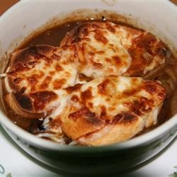French Onion Soup V Recipe - This French onion soup is a powerful blend of onions, beef broth , parsley, and thyme.