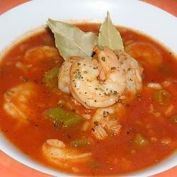 Big Ed's Cajun Shrimp Soup Recipe - This hearty rice and shrimp soup is packed with vegetables and flavor.