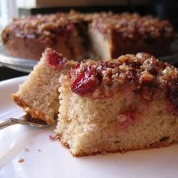 Cranberry Upside-Down Coffee Cake Recipe - Cranberries and pecans are baked in the bottom of this cake. Turn the cake over for ooh's and ah's.