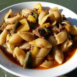 Antelope Goulash Recipe - Antelope meat, potatoes, corn, and bell peppers simmer with elbow macaroni to make this tasty and easy main dish.
