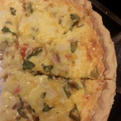 Crab Quiche II Recipe - I love Quiche and imitation crab. This combines the best of both worlds. It is a simple and versatile recipe that whips up in a jiffy.