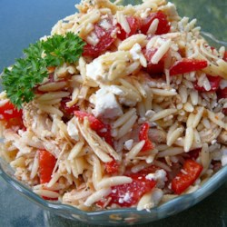Mediterranean Chicken and Orzo Salad In Red Pepper Cups