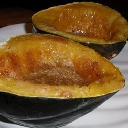Nana's Acorn Squash Recipe - Acorn squash is microwaved until tender, and then broiled with butter and brown sugar.
