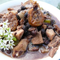 Pork and Black Bean Stew Recipe - This Brazilian pork stew features both pork tenderloin and chorizo sausage. My Brazilian friend makes this for me occasionally and it is fabulous!