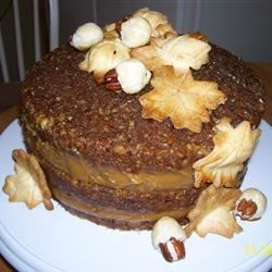 Pecan Pie Cake III Recipe - This is an exquisite 3-layer cake that is very rich. Pecans are baked into the layers and then the cake is assembled with a creamy filling that mimics pecan pie filling.