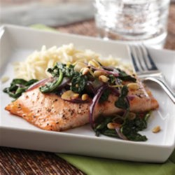 Honey Lemon Glazed Salmon with Spinach Saute Recipe - Full of fresh flavors.