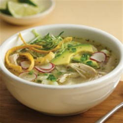 Slow Cooker Chicken Pozole Blanco Recipe - A great soup for casual entertaining.